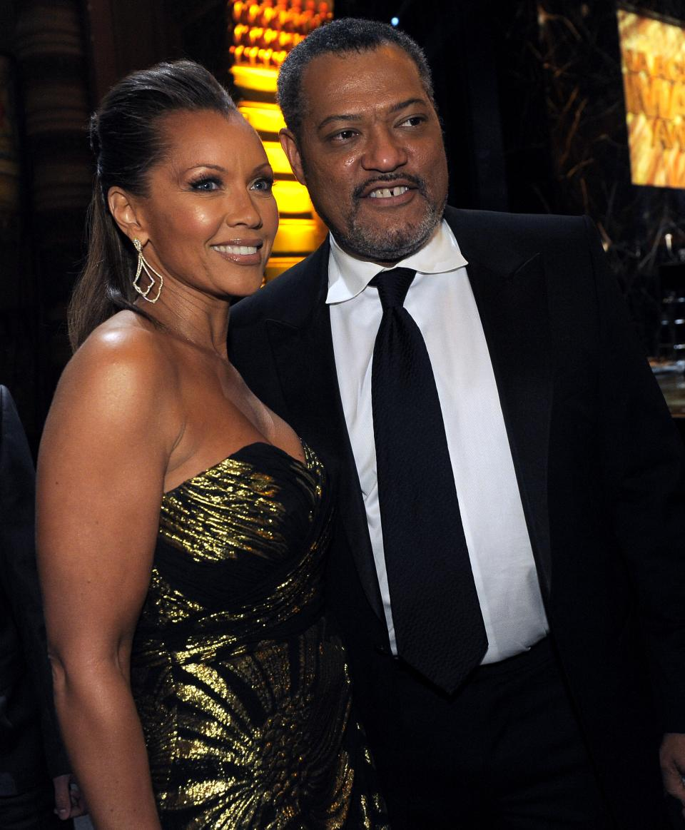 Vanessa Williams, left, and Laurence Fishburne pose in the audience at the 43rd NAACP Image Awards on Friday, Feb. 17, 2012, in Los Angeles. (AP Photo/Chris Pizzello)