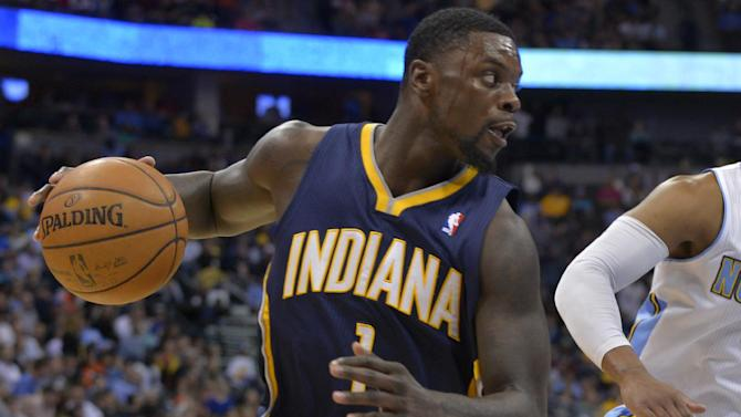 Indiana Pacers shooting guard Lance Stephenson plays against the Denver Nuggets during an NBA basketball game Saturday, Jan. 25, 2014, in Denver. Denver beat Indiana 109-96. (AP Photo/Jack Dempsey)