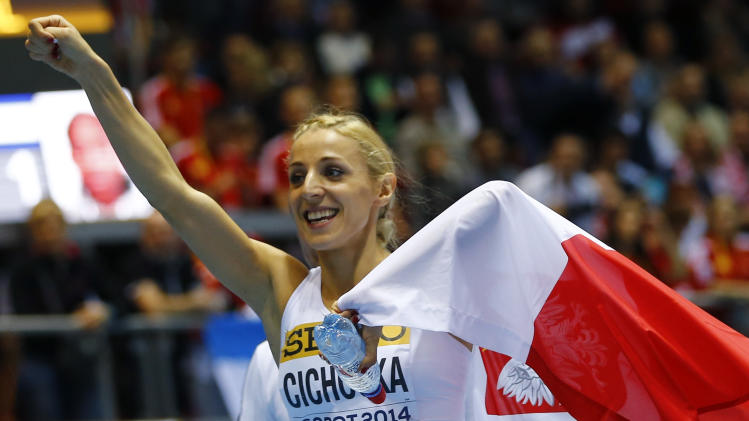 Poland's Cichocka celebrates after winnning silver in women's 800m final at world indoor athletics championships in Sopot