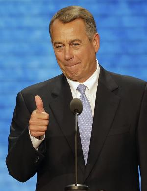 House Speaker John Boehner of Ohio, flashes a tubs up as he announces the results of the voting that nominates former Massachusetts Gov. Mitt Romney for the Offcie of President of the United States during the Republican National Convention in Tampa, Fla., on Tuesday, Aug. 28, 2012. (AP Photo/J. Scott Applewhite)