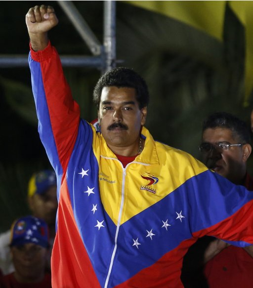 Venezuelan presidential candidate Maduro celebrates after official results gave him a victory in Caracas