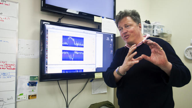 Scientist Rick Gaitskell, a physics professor at Brown University, talks Tuesday, May 29, 2012, about the Sanford Underground Research Facility in Lead, S.D. The lab's experiments will include the world's most sensitive dark-matter detector. Gaitskell says that he's been hunting for dark matter for 23 years, and that the lab _ housed inside the now-shuttered Homestake Gold Mine nearly 5,000 feet beneath the earth _ could help scientists understand the origins of the universe. (AP Photo/Amber Hunt)