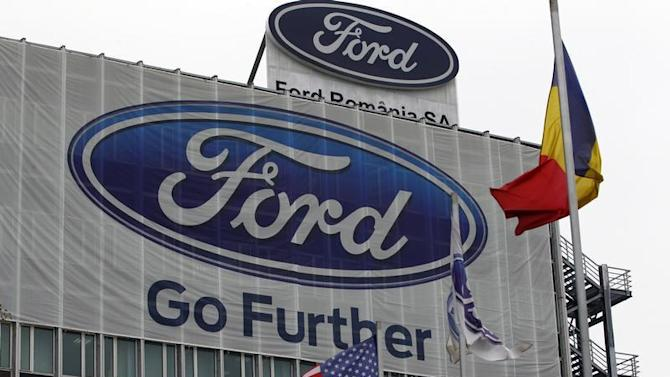 The Ford logo is seen at Ford car plant in Craiova