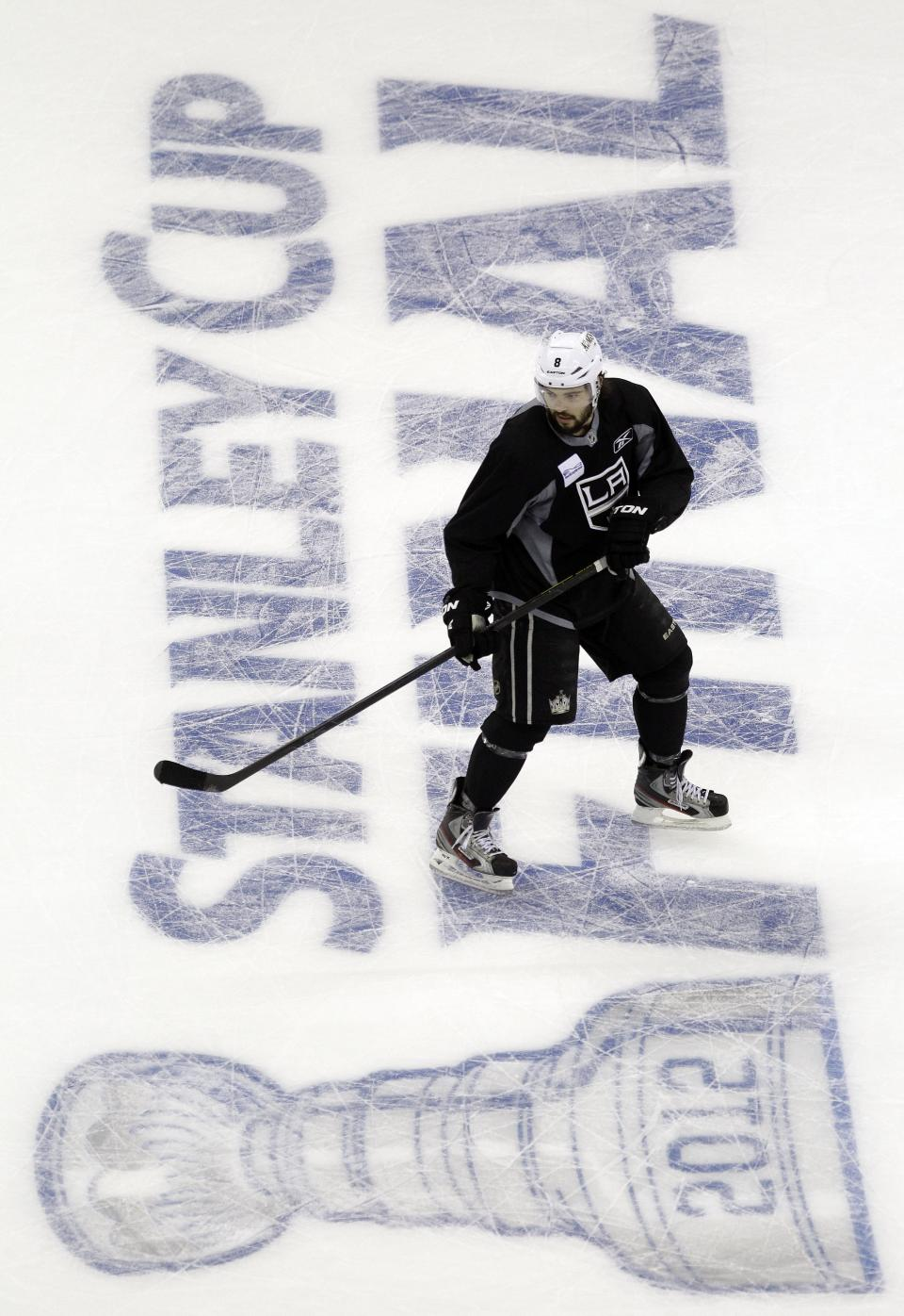 Los Angeles Kings' Drew Doughty skates during practice in preparation for Wednesday's Game 1 of the NHL hockey Stanley Cup Final series against the New Jersey Devils, Tuesday, May 29, 2012, in Newark, N.J. (AP Photo/Julio Cortez)