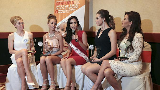 Miss Universe Canada 2015 Nunez Valdez speaks next to other finalists in the competition Colberg, McKay, Heinsar and Kohut during a news conference in Managua, Nicaragua