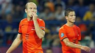 Dutch Arjen Robben (L) and Ibrahim Afellay react during the Group B preliminary round match of the UEFA EURO 2012 between the Netherlands and Germany in Kharkiv, Ukraine, 13 June 2012.