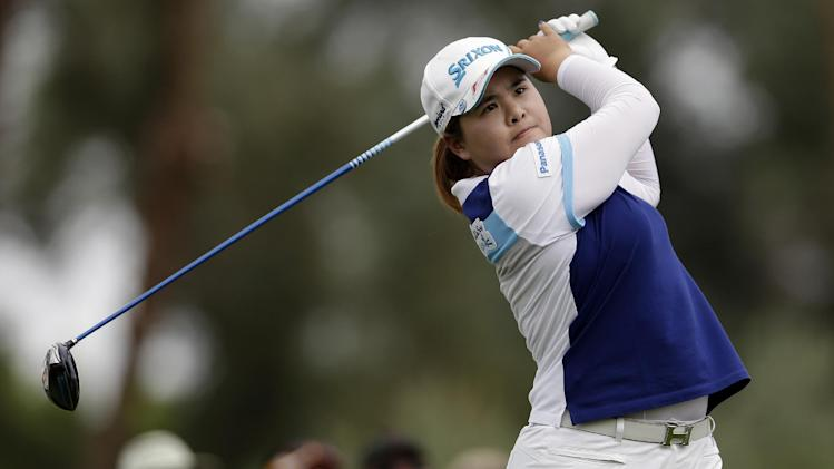 Inbee Park, of South Korea, watches her tee shot on the third hole during the final round of the LPGA Kraft Nabisco Championship golf tournament in Rancho Mirage, Calif. Sunday, April 7, 2013. (AP Photo/Chris Carlson)