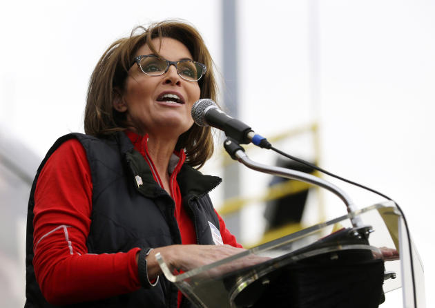 FILE - This Oct. 12, 2013 file photo shows former Alaska Gov. Sarah Palin during a rally supporting Steve Lonegan who is running for the vacant New Jersey seat in the U.S. Senate, in New Egypt, N.J. T