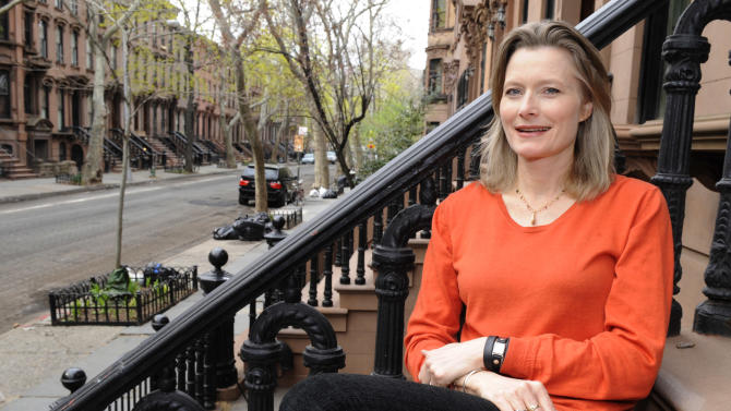 "Author Jennifer Egan is shown at her home in the Brooklyn borough of New York on Monday, April 18, 2011. Egan won the Pulitzer Prize for fiction for her novel ""A Visit from the Goon Squad,"" on Monday. (AP Photo/Henny Ray Abrams)"