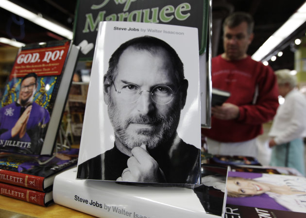 "The book ""Steve Jobs,"" by Walter Isaacson is on display at a book shop in Menlo Park, Calif., Monday, Oct. 24, 2011. The depths of Jobs' antipathy toward Google leaps out of Walter Isaacson's authorized biography of Apple's co-founder. The book goes on sale Monday, less than three weeks after Jobs' long battle with pancreatic cancer culminated in his Oct. 5 death. (AP Photo/Paul Sakuma)"