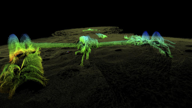 This 2012 high-resolution 3-D sonar image provided by the National Oceanic and Atmospheric Administration shows the remains of the USS Hatteras, the only U.S. Navy ship sunk in combat in the Gulf of Mexico during the Civil War. The view is from the vessel's port side, toward its stern. The long paddlewheel shaft, bent and angled, rests on the seabed with the fragmented remains of the port side paddlewheel on the right. (AP Photo/NOAA, Northwest Hydro Inc., James Glaeser)