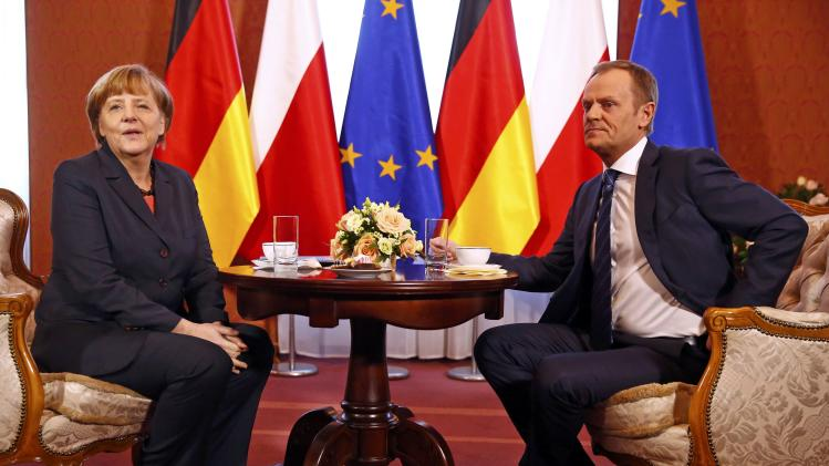 German Chancellor Merkel talks with PM Tusk in Warsaw