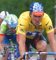 Seven times Tour de France winner Lance Armstrong wears the leader's yellow jersey on the 16th stage of 1999 tour, between Lannemezan and Pau in the Pyrenees