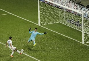 An aerial view of Chris Wondolowski's stoppage-time miss on Tuesday. (AP)