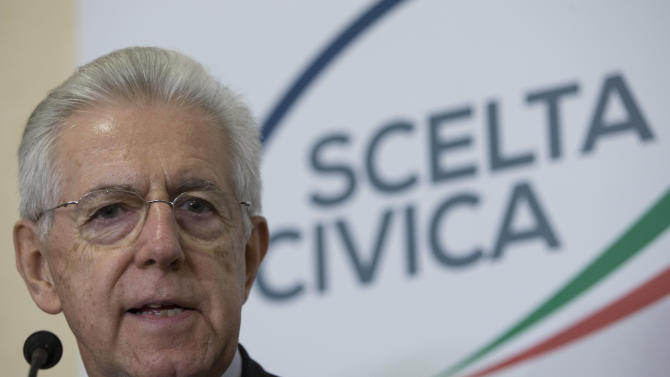 Italian Premier Mario Monti talks to the media during a press conference in his  party headquarters, in Rome, Monday, Feb. 25, 2013. The prospect of political paralysis hung over Italy on Monday as partial official results in crucial elections showed an upstart protest campaign led by a comedian making stunning inroads, and mainstream forces of center-left and center-right wrestling for control of Parliament's two houses. (AP Photo/Andrew Medichini)