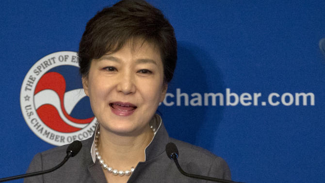 South Korea President Park Geun-hye gestures as she speaks during a luncheon hosted by U.S. Chamber of Commerce, the Federation of Korean Industries, and the Korea-U.S. Business Council at the Willard Hotel, Wednesday, May 8, 2013, in Washington. (AP Photo/Carolyn Kaster)