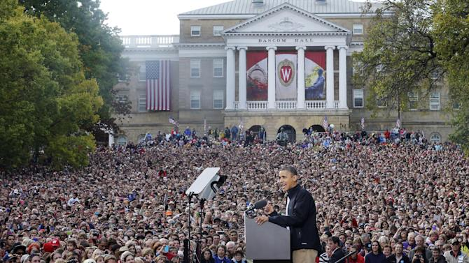 """FILE - In this Oct. 4, 2012, file photo President Barack Obama campaigns at the University of Wisconsin-Madison, the day after his first debate with Republican challenger Mitt Romney. Romney questioned Obama's veracity face to face during the debate, and said at one point """"you're entitled to your own airplane and your own house, but not your own facts"""" in office. The next day in Wisconsin Obama told the crowd, """"You owe the American people the truth,"""" as if he were addressing Romney. (AP Photo/Pablo Martinez Monsivais, File)"""