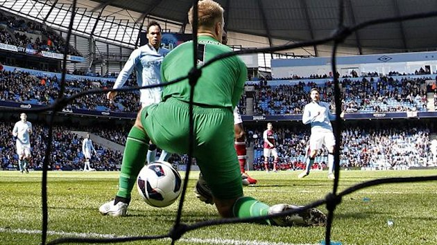 Joe Hart lets the ball between his legs against West Ham