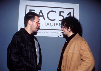 Paddy Considine as Rob Gretton and Andy Serkis as Martin Hannett in MGM's 24 Hour Party People