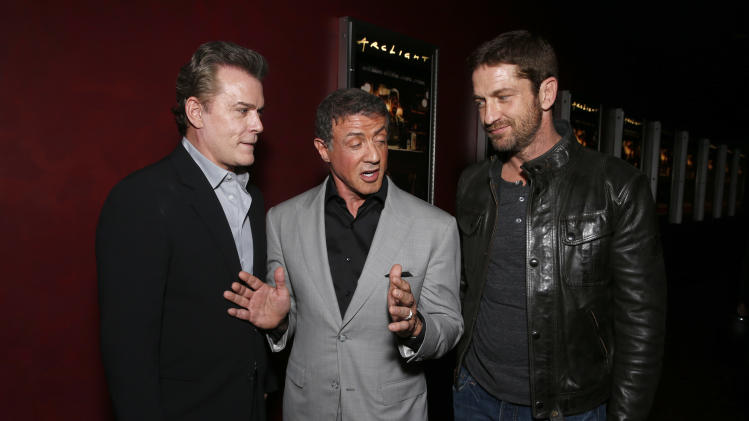 Ray Liotta, Sylvester Stallone and Gerard Butler attend the DeLeon Tequila Premiere of The Iceman at the Arclight on Monday, April 22, 2013 in Los Angeles. (Photo by Todd Williamson/Invision for Millennium/AP)
