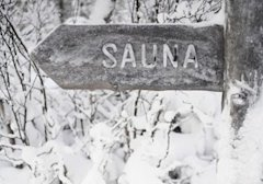 sauna sign in the snow