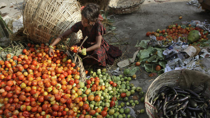 FILE- In this May 15, 2012 file photo, an Indian child salvages tomatoes from a pile of rotten discarded vegetables at a market in Gauhati, India. India's finance minister has unveiled the national budget with a promise to set Asia's third largest economy back on a path of high growth and to check runaway inflation and the fiscal deficit. Palaniappan Chidambaram told Parliament on Thursday that the country was facing a current account deficit crisis due to huge imports of oil, coal and gold and a slowdown in exports. (AP Photo/Anupam Nath, File)