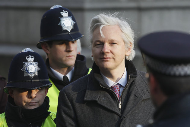 Julian Assange, the 40-year-old WikiLeaks founder, arrives at the Supreme Court in London,  Wednesday, Feb. 1, 2012. Assange's legal team is making a final effort at Britain's Supreme Court to avoid h