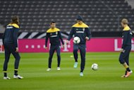 Swedish forward Zlatan Ibrahimovic (C) and his teammates attend a training session in Berlin, on the eve of the Germany vs Sweden World Cup 2014 qualifier at Berlin's Olympic Stadium