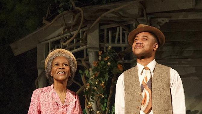 """This theater publicity image released by The Hartman Group shows Cicely Tyson, left, and Cuba Gooding Jr., during a performance of """"The Trip to Bountiful"""" at the Stephen Sondheim Theatre in New York. (AP Photo/The Hartman Group, Joan Marcus)"""