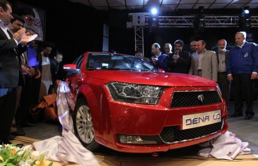 Iran's leading automaker Iran Khodro unveils the Dena sedan last year. Auto production in sanctions-hit Iran nosedived by more than 42 percent in the past six months, media reports said on Thursday, citing industry ministry figures