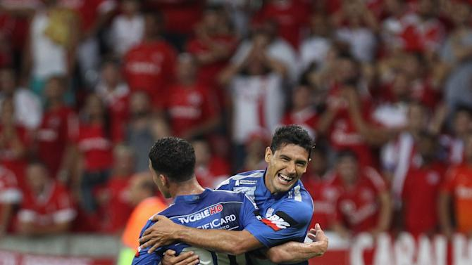 Burbano of Ecuador's Emelec celebrates scoring against Brazil's Internacional during their Copa Libertadores soccer match in Porto Alegre