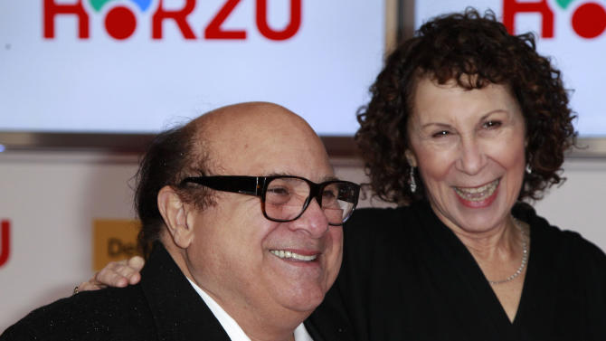 U.S.actor Danny Devito and his wife U.S. actress Rhea Perlman arrive for the Golden Camera awards in Berlin