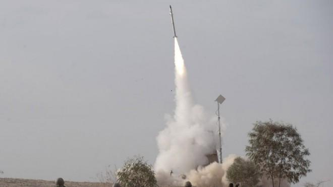 An Israeli Iron Dome missile is launched from southern Israel on Nov. 17, to intercept a rocket fired from Gaza.