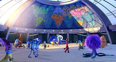 The lobby of Monsters, Incorporated in Disney's Monsters, Inc.