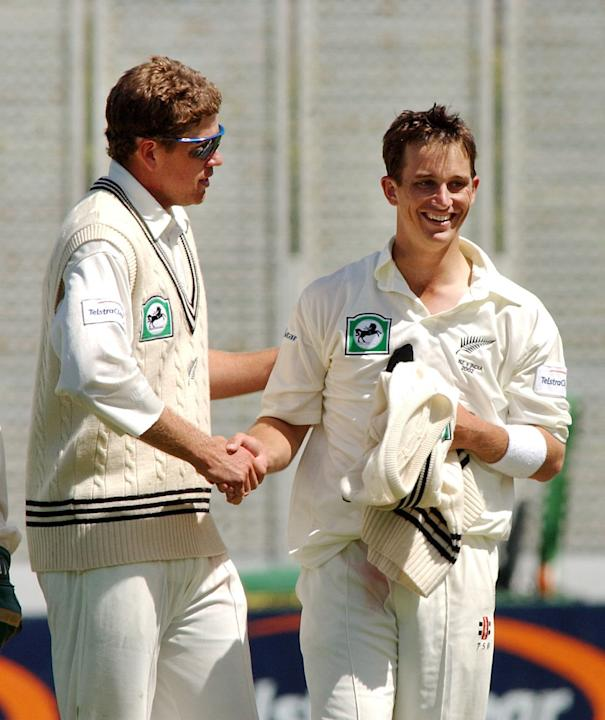 New Zealand Black Caps Jacob Oram, left and Shane
