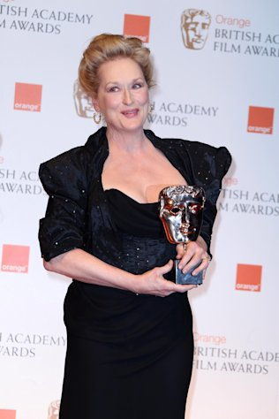 "Actress Meryl Streep with her 'Best Actress"" award for her role in 'The Iron Lady' backstage at the BAFTA Film Awards 2012, at The Royal Opera House in London, Sunday, Feb. 12, 2012. (AP Photo/Joel Ryan)"