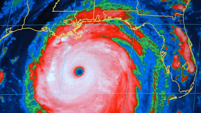 FILE - This Sunday, Aug. 28, 2005 file photo shows a National Oceanic and Atmospheric Administration infrared satellite image of Hurricane Katrina in the Gulf of Mexico. There are six lists used in rotation for storms in the Atlantic. The 2013 list will be used again in 2019. Names are taken off the list and replaced to avoid confusion if a hurricane causes a lot of damage or deaths. For example, the name of Hurricane Katrina was retired after it devastated New Orleans in 2005. (AP Photo/NOAA)