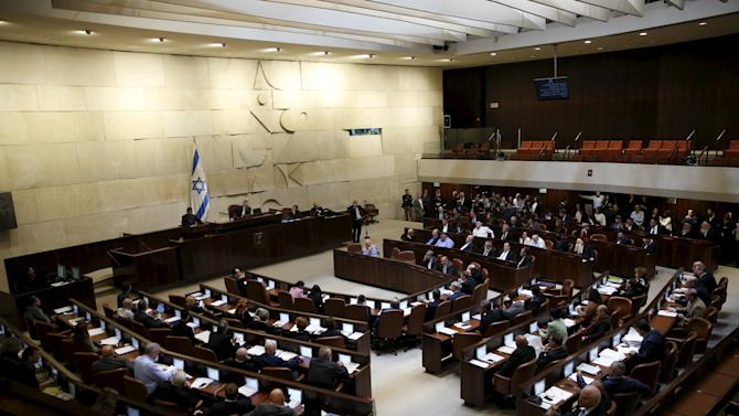 A general view shows the Israeli parliament hall as Herzog delivers his speech during a session for a no-confidence vote at the Israeli Parliament in Jerusalem