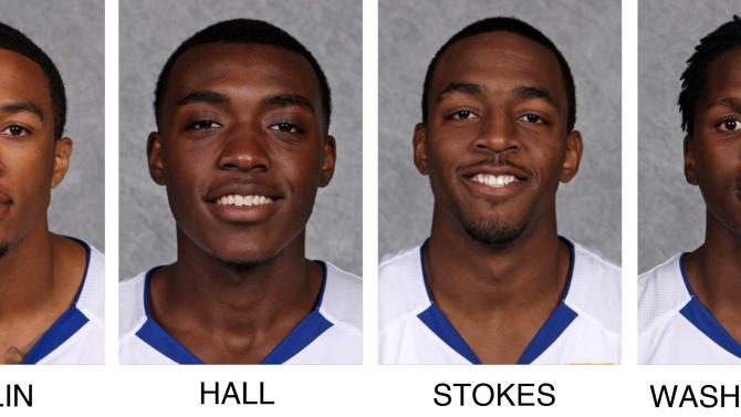 These undated images provided by Hofstra Athletics Communications show, from left, Hofstra University basketball players Dallas Anglin,  Jimmy Hall, Shaquille Stokes and Kentrell Washington. The players were arrested on burglary charges stemming from six break-ins of Long Island campus dormitory rooms, police said Friday, Nov. 30, 2012. They were facing arraignment Friday in district court. (AP Photo/Hofstra Athletics Communications)
