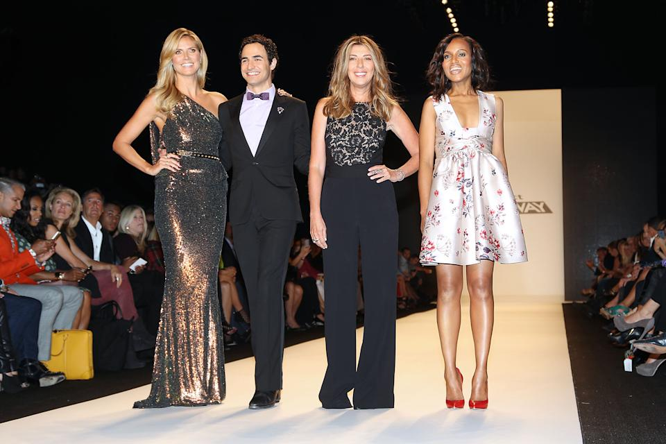 "This image released by Starpix shows, from left, host Heidi Klum, designer Zac Posen, Nina Garcia and actress Kerry Washington at the ""Project Runway"" show during Fashion Week in New York on Friday, Sept. 6, 2013. (AP Photo/Starpix, Kristina Bumphrey)"