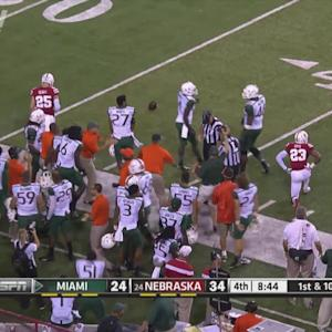 Miami WR Phillip Dorsett Makes Amazing Catch off Nebraska Helmet | ACC Must See Moment