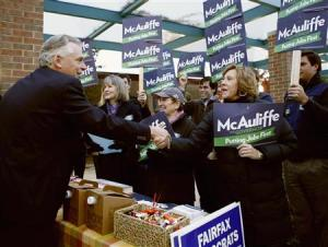 Gubernatorial candidate Terry McAuliffe votes in Virginia