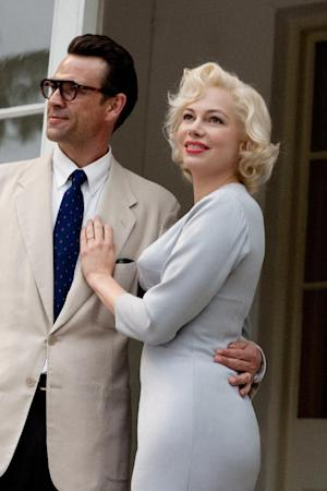 """In this film publicity image released by The Weinstein Company, Dougray Scott portrays Arthur Miller and Michelle Williams portrays Marilyn Monroe in a scene from """"My Week with Marilyn."""" (AP Photo/The Weinstein Company, Laurence Cendrowicz)"""