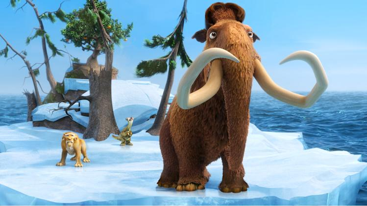 "This image released by 20th Century Fox shows the characters Diego, voiced by Denis Leary, left, Sid, voiced by John Leguizamo and Manny, voiced by Ray Romano in a scene from the animated film, ""Ice Age: Continental Drift."" (AP Photo/20th Century Fox)"
