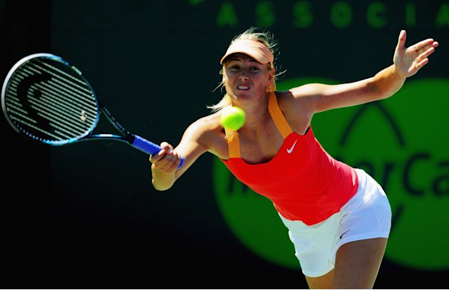 Maria Sharapova of Russia in action during her match against Ekaterina Makarova of Russia