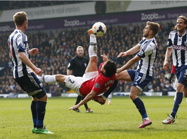 Manchester United's Rafael makes an overhead kick during their English Premier League soccer match against West Bromwich Albion at The Hawthorns in West Bromwich