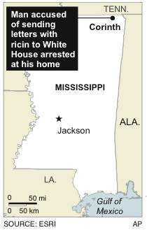 Map locates Corinth, Miss., where a man accused of sending letters with poisonous ricin to President Obama and a U.S. senator was arrested