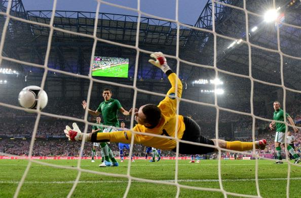 Shay Given of Republic of Ireland fails to stop the first goal from Mario Mandzukic of Croatia during the UEFA EURO 2012 group C between Ireland and Croatia at The Municipal Stadium on June 10, 2012 in Poznan, Poland. (Photo by Jamie McDonald/Getty Images)