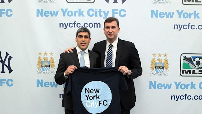 IMAGE DISTRIBUTED FOR MANCHESTER CITY FC - Claudio Reyna, left, and Ferran Soriano, CEO of Manchester City FC, seen at a press conference launching a new football club, New York City FC, on Wednesday, May 22, 2013 in New York City, New York. Manchester City FC and baseball giants the New York Yankees are joining to found the new club. (Sharon Latham/Manchester City FC via AP Images)