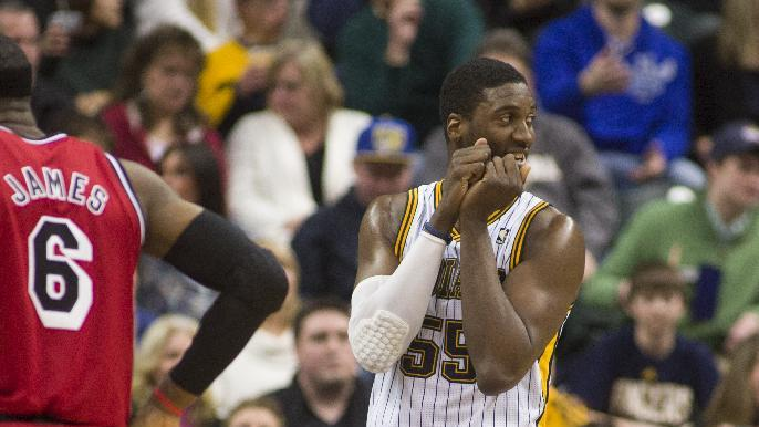Indiana Pacers' Roy Hibbert (55) reacts to being called for a foul during the second half of an NBA basketball game against the Miami Heat in Indianapolis, Friday, Feb. 1, 2013. The Pacers defeated the Heat 102-89. (AP Photo/Doug McSchooler)